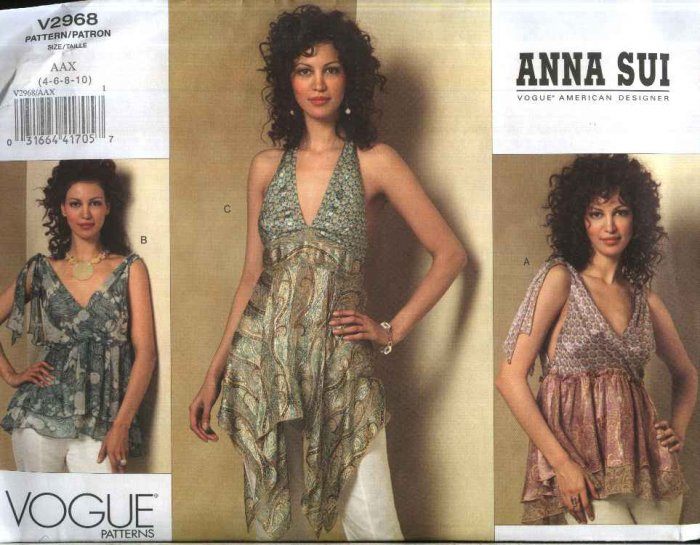 Vogue Sewing Pattern 2968 Misses Size 4-10 Anna Sui Halter Empire Waist Flowing Tops