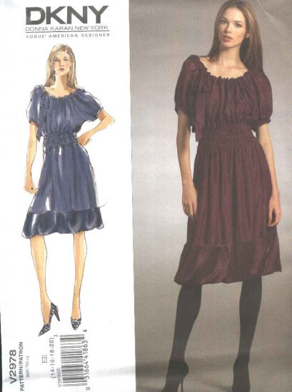Vogue Sewing Pattern 2978 Misses Size 14-20 DKNY Loose Fitting Baby Doll Dress Slip