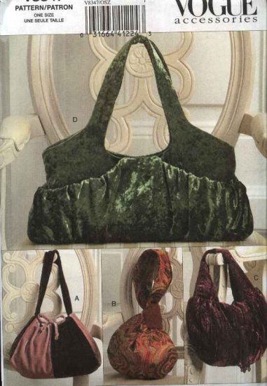 Vogue Sewing Pattern 8347 Misses Fashion Accessories Lined Handbags Purses Bags