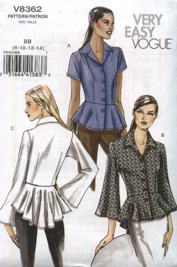 Vogue Sewing Pattern 8362 Misses Size 8-14 Easy Button Front Peplum Blouse Shirt Top