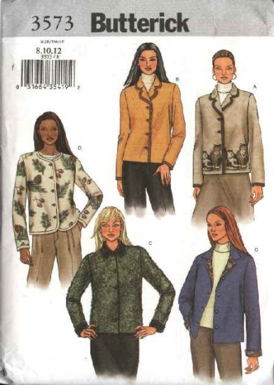 Butterick Sewing Pattern 3573 Misses Size 8-10-12 Easy Fleece Button Front Long Sleeve Jackets