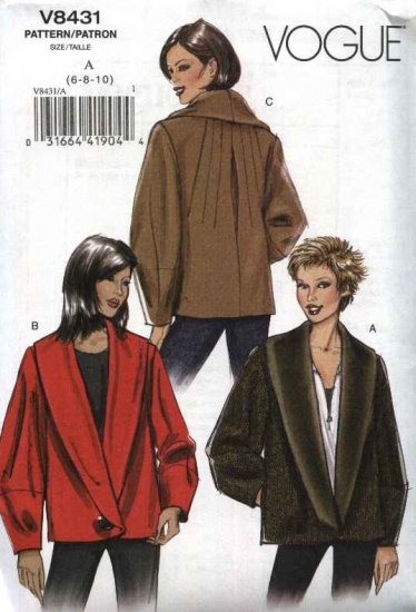 Vogue Sewing Pattern 8431 Misses Size 6-10 Easy Lined Long Sleeve Winter Fall Jacket