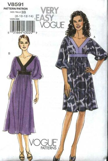 Vogue Sewing Pattern 8591 Misses Size 8-14 Easy Raised Waist Empire Duro Look Dress