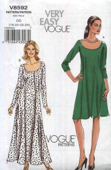 Vogue Sewing Pattern 8592 Misses Size 18-24 Easy Pullover Flared Raglan Sleeved Long Short Dress