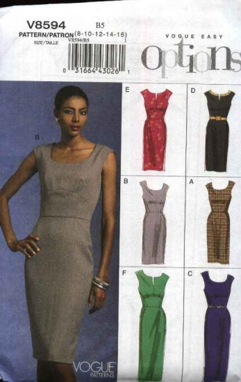 Vogue Sewing Pattern 8594 Misses Size 8-16 Easy Sleeveless Straight Dress Trim Length Options