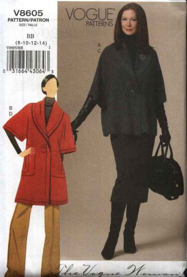 Vogue Sewing Pattern 8605 Misses Size 16-24 Easy Button Front Jacket Straight Skirt Pants Suit