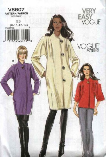 Vogue Sewing Pattern 8607 Misses Size 8-14 Easy Lined button Front Long Sleeve Coat Jacket