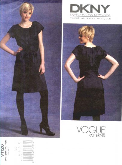 Vogue Sewing Pattern 1120 Misses Size 6-12 DKNY Easy Loose-fitting Baby Doll A-Line Dress Tie Ends