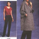 Vogue Sewing Pattern 1128 Misses Size 8-14 Anne Klein Button Front Coat Pullover Top Long Pants