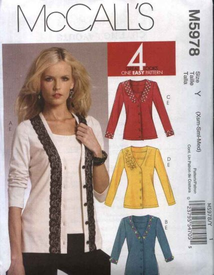 McCall�s Sewing Pattern 5978 Misses Size 4-14 Easy Embellished Cardigans Sleeveless Top Shell