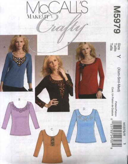 McCall�s Sewing Pattern 5979 Misses Size 4-14 Embellished Long Sleeve Scoop Neck Knit T-Shirt Top