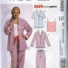 McCall's Sewing Pattern 5990 M5990 Womans Plus Size 18W-24W Easy Pajamas Shirt Pants Camisole Top