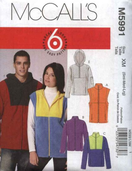 "McCall�s Sewing Pattern 5991 Misses Mens Chest Sizes 46-56"" Easy Unlined Vests Jackets Tops"