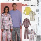 "McCall's Sewing Pattern 5992 Misses Mens Chest Size 38-44"" Easy Pajamas Nightshirt Dog Jacket"