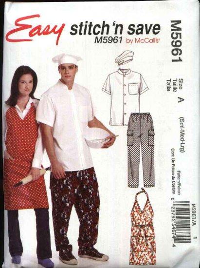 "McCall�s Sewing Pattern 5961 Misses Men's Chest Sizes 46-56"" Easy Chef's Uniform Shirt Pants Apron"