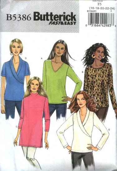Butterick Sewing Pattern 5386 Misses Size 16-24 Easy Pullover Knit Tops Sleeve Neckline Variations