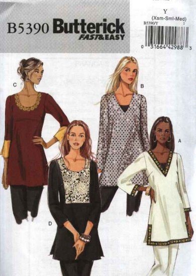 Butterick Sewing Pattern 5390 Misses Size 4-14 Easy Pullover Loose Fitting Long Sleeve Tunic Top