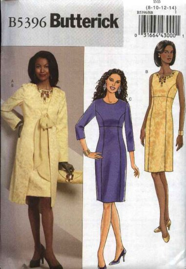 Butterick Sewing Pattern 5396 Misses Size 16-24 Easy Lined Princess Seam Straight Dress Coat Duster