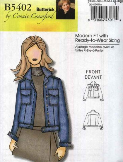 Butterick Sewing Pattern 5402 B5402 Misses Sizes 3-16 Connie Crawford Classic Blue Jean Jacket