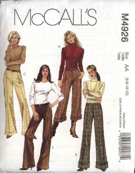 McCall's Sewing Pattern 4926 Misses Size 6-12 Straight Leg Hem Cuffs Pants Slacks Trousers