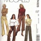 McCall's Sewing Pattern 4926 Misses Size 10-16 Straight Leg Hem Cuffs Pants Slacks Trousers