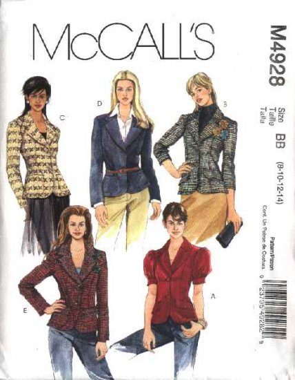 McCall�s Sewing Pattern 4928 Misses Size 8-14 Lined Long Short Sleeved Button Front Jackets