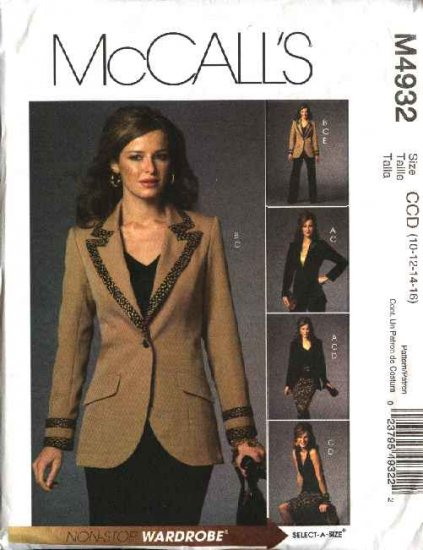 McCall's Sewing Pattern M4932 4932 Misses Size 10-16 Wardrobe Lined Jacket Skirt Pants Top