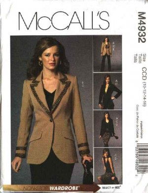 McCall's Sewing Pattern M4932 4932 Misses Size 16-22 Wardrobe Lined Jacket Skirt Pants Top Suit
