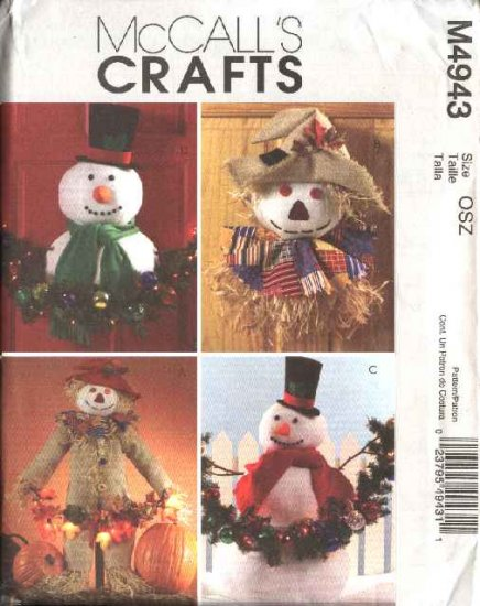 McCall�s Sewing Pattern 4943 Christmas Halloween Autumn Fall Door Lawn Decorations