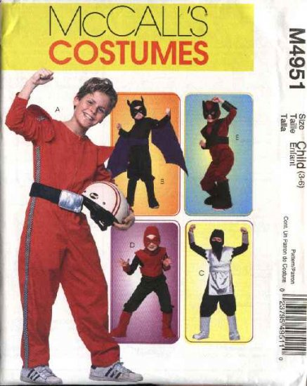 McCall's Sewing Pattern 4951 Boys Size 7-14  Halloween Costumes Super Hero Ninja Batman