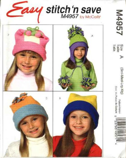 "McCall's Sewing Pattern 4957 M4957 Girls Boys Head Size 20 3/4"" - 23""  Easy  Fleece Hats PomPoms"