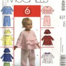 McCall's Sewing Pattern 4959 Infants Girls Newborn - Large Wardrobe Tops Dresses Pants Hat
