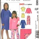 McCall's Sewing Pattern 4963 Girls Size 3-6 Pajamas Gown Tops Pull on Shorts Pants Blanket