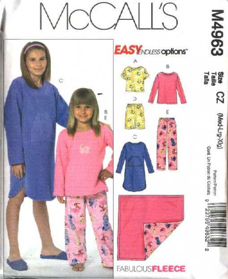 McCall's Sewing Pattern 4963 Girls Size 7-16 Pajamas Gown Tops Pull on Shorts Pants Blanket