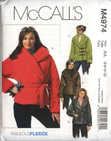 McCall�s Sewing Pattern M4974 4974 Misses Size 14-20 Lined Fleece Double Breasted Jackets