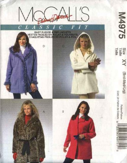 McCall's Sewing Pattern 4975 M4975 Misses Size 20-26 Fit Hooded Snap Front Lined Fleece Jackets