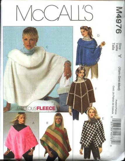 McCall's Sewing Pattern 4976 Misses Size 4-14 Fleece Ponchos Neckline Shape Variations Wraps