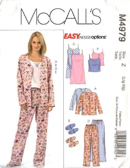 McCall's Sewing Pattern M4979 4979 Misses Size 4-14 Easy Nightgown Pajama Pants Tops Camisole