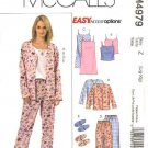 McCall's Sewing Pattern 4979 Misses Size 4-14 Easy Nightgown Pajama Pants Tops Camisole Slippers