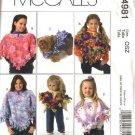 "McCall's Sewing Pattern 4981 Fringed Reversible Fleece Ponchos for Misses Girls 18"" Doll Dogs"