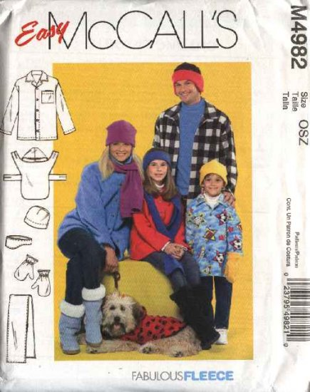 McCall's Sewing Pattern 4982 Easy  Winter Wear for Whole Family  Dog Jacket Scarf Mittens Hat