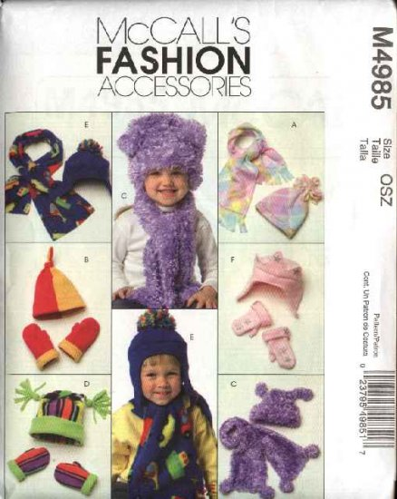 McCall's Sewing Pattern 4985 Infant ToddlerChild's Fleece Fashion Accessories Hats Mittens Scarves