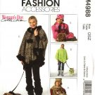 McCall's Sewing Pattern 4988 Misses Dogs Fleece Fashion Accessories Poncho Scarf Hat Mitten
