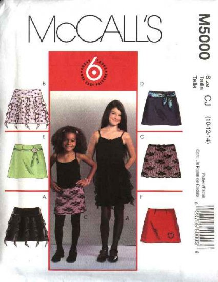 McCall's Sewing Pattern 5000 Girls Size 3-6 Easy Fitted A-Line Lined Yoke Skirts