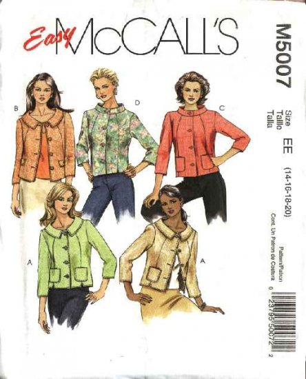 McCall's Sewing Pattern 5007 Misses Size 14-20 Easy Lined Button Front Short Jackets