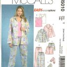 McCall's Sewing Pattern M5010 5010 Misses Size 4-14 Easy Pajamas Pullover Top Pants Shorts