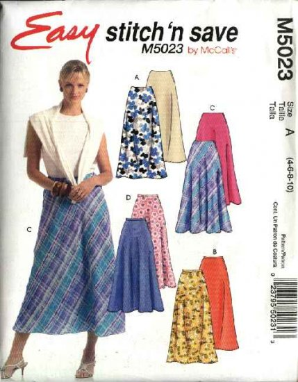 McCall's Sewing Pattern 5023 Misses Size 4-10 Easy Flared Bias Skirts