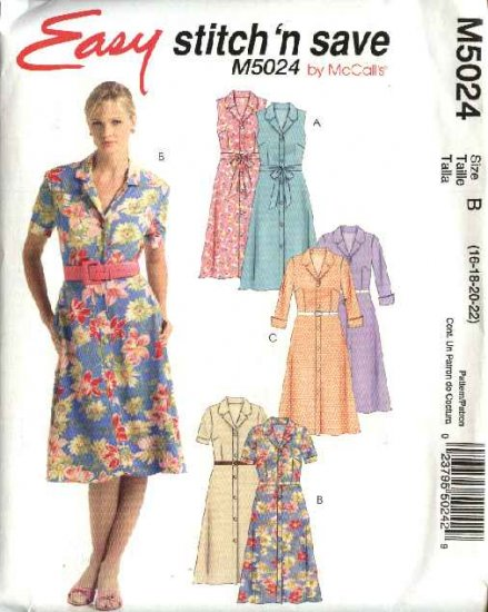 McCall's Sewing Pattern 5024 Misses Size 16-22 Easy Button Front Shirt Waist Dress Sash