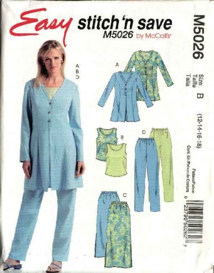McCall's Sewing Pattern 5026 Misses Size 12-18 Easy Wardrobe Unlined Jacket Skirt Top Pants