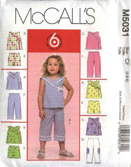 McCall's Sewing Pattern 5031 Toddler Girls Size 1-2-3 Easy Summer Wardrobe Top Shorts Capri Pants